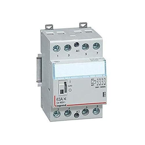 Contacteur de puissance CX³ bobine 230V~ sans commande manuelle 4 pôles- 400V~63A contact 4F Legrand Réf: 412541