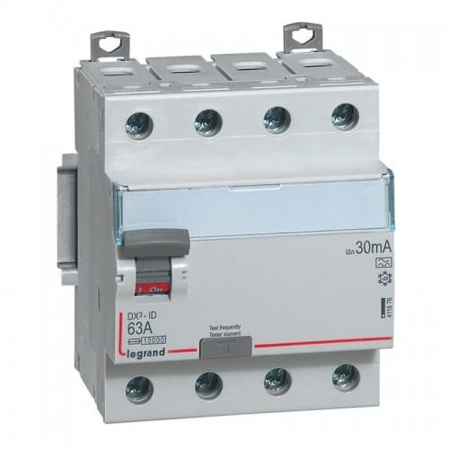 Interrupteur différentiel 4 pôles DX³-ID arrivée haute et départ bas à vis - 400V~ 63A typeA 30mA  Legrand Réf: 411676