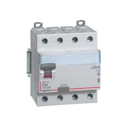 Interrupteur différentiel DX³-ID arrivée haute et départ bas à vis - 4P 400V~ 63A Type AC 30mA Legrand Réf: 411662