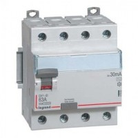 Interrupteur différentiel 63A type AC DX³-ID arrivée haute et départ bas à vis - 4P 400V~ Legrand Réf: 411662