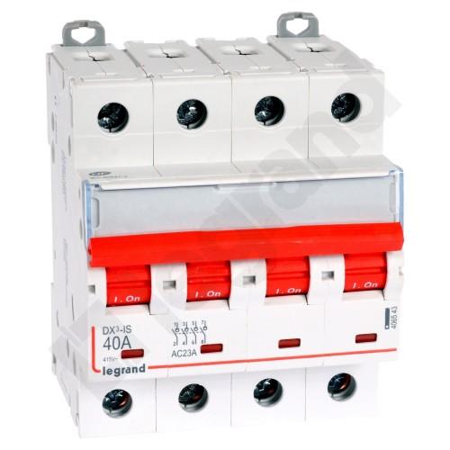Interrupteur sectionneur DX³-IS à déclenchement 4P 400V~ - 40A - 4 modules Legrand Réf: 406543