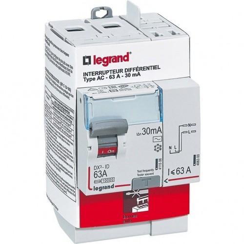 Interrupteur différentiel 63A type AC 3 modules Legrand Réf: 411633