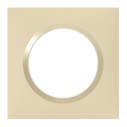 Plaque de finition carrée 1 poste Dune Mat avec Bague Dune Brillante (jaune) Legrand Dooxie Réf: 600811