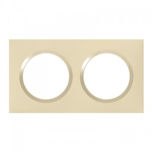 Plaque de finition 2 postes Dune Mat avec Bague Dune brillante (jaune) Legrand Dooxie Réf: 600812