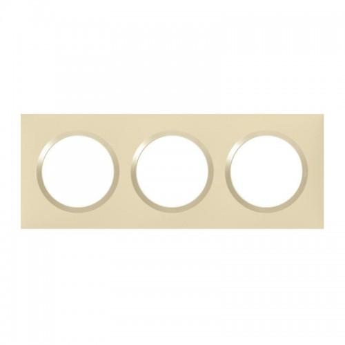 Plaque de finition 3 postes Dune Mat avec Bague Dune brillante (jaune) Legrand Dooxie Réf: 600813