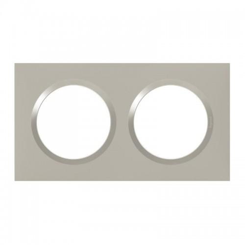 Plaque de finition double Plume Mat avec Bague brillante (gris) Legrand Dooxie Réf: 600822