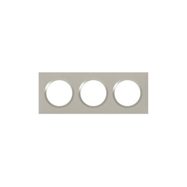 Plaque de finition  triple Plume Mat avec Bague brillante (gris) Legrand Dooxie Réf: 600823