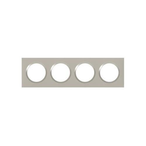Plaque de finition quadruple Plume mat avec bague plume brillante (gris) Legrand Dooxie Réf: 600824