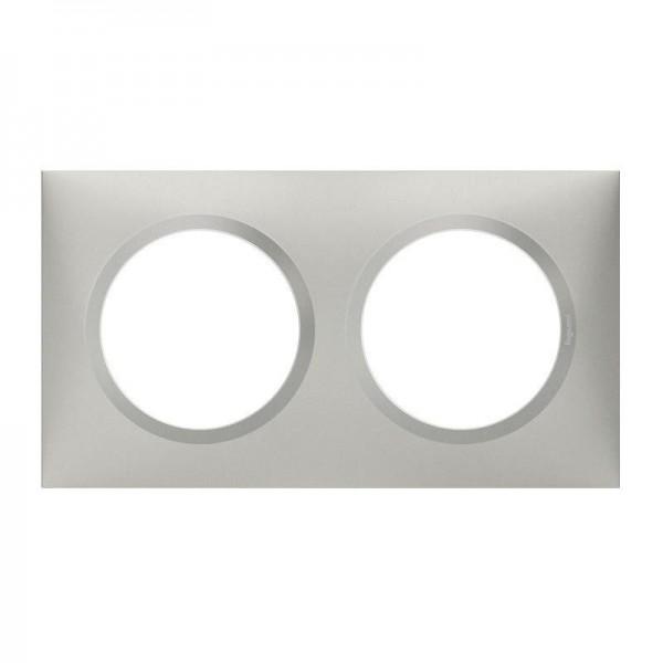 Plaque de finition 2 postes effet Aluminium Mat Legrand Dooxie Réf: 600852
