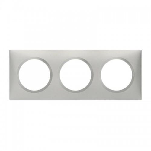 Plaque de finition triple effet Aluminium Mat Legrand Dooxie Réf: 600853