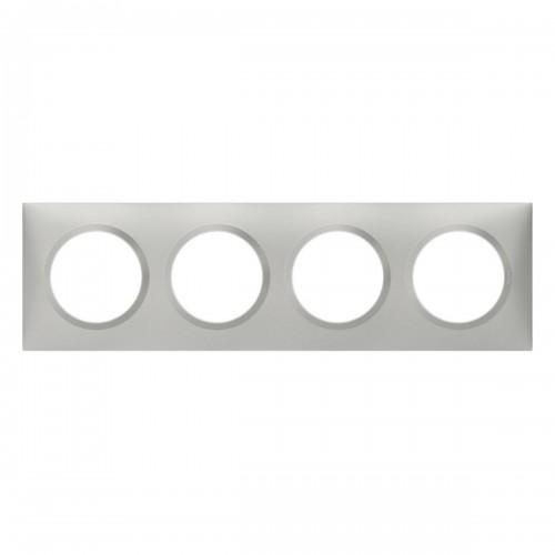 Plaque de finition quadruple effet Aluminium Mat Legrand Dooxie Réf: 600854