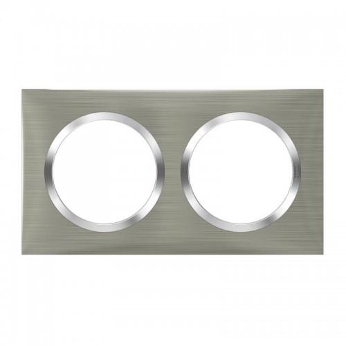 Plaque de finition 2 postes effet inox brossée avec bague effet chrome Legrand Dooxie Réf: 600872