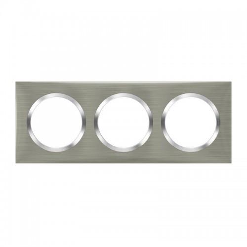 Plaque de finition 3 postes effet inox brossée avec bague effet chrome Legrand Dooxie Réf: 600873
