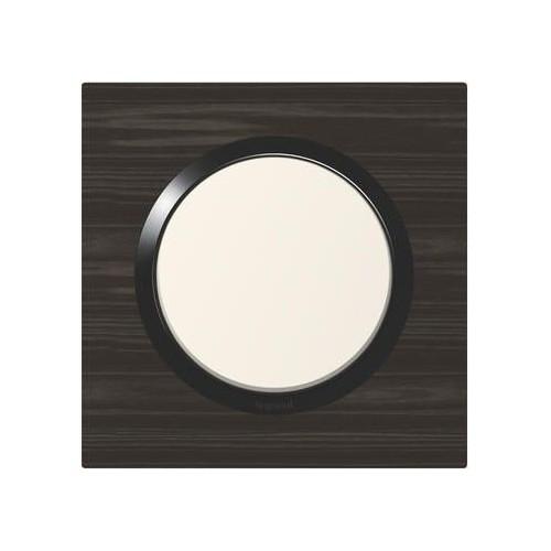 Plaque de finition simple carrée effet bois ébène avec bague noire brillante Legrand Dooxie Réf: 600881