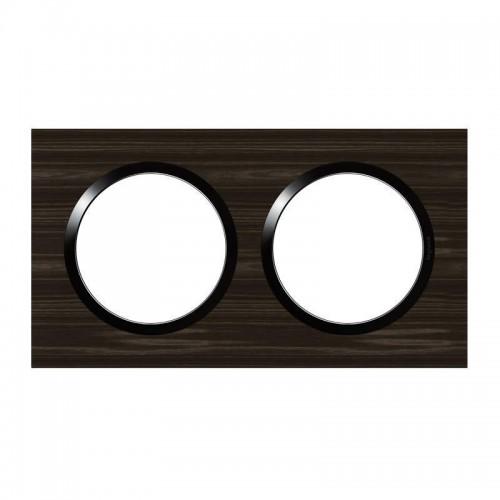 Plaque de finition double effet bois ébène avec bague noire brillante Legrand Dooxie Réf: 600882
