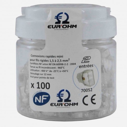 Connecteur rapide 2 entrées boite de 100 Eur'Ohm Réf: 70052