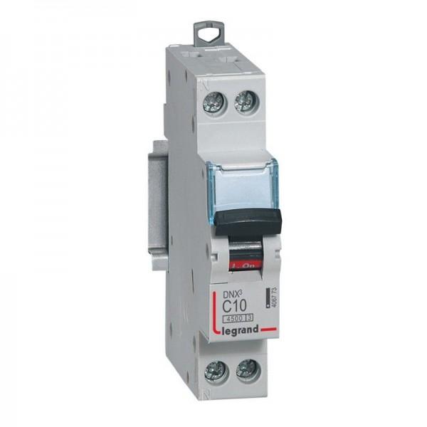 Disjoncteur Phase + Neutre DNX3 4500 6kA arrivée et sortie borne à vis - 1P+N 230V 10A Courbe C Legrand Réf: 406773