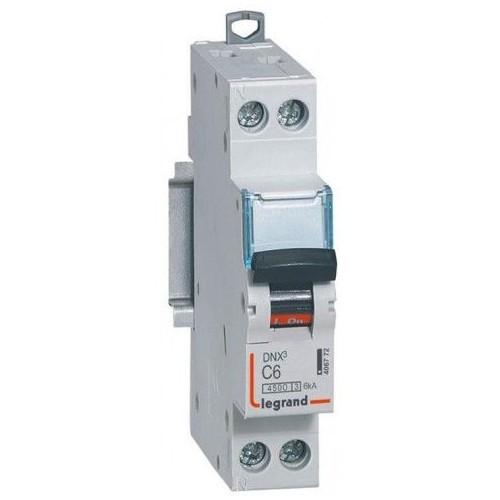 Disjoncteur Phase+Neutre DNXᶾ 4500 6kA arrivée haute et sortie basse à vis - 1P+N 230V~ 6A courbe C Legrand Réf: 406772