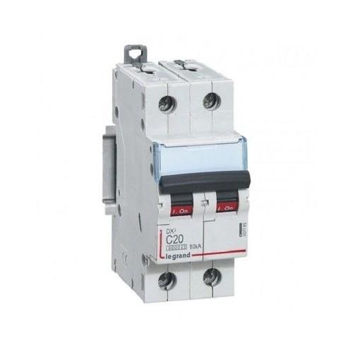 Disjoncteur DX3 6000 vis / vis 2 pôles 230/400V~ 20A-10kA courbe C Legrand Réf: 407785