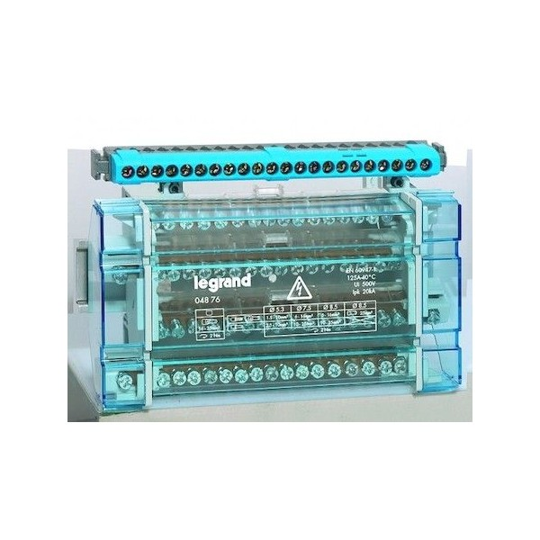 Répartiteur modulaire monobloc tétrapolaire à bornes 125A - 17 connexions par bareau Legrand Réf: 004876