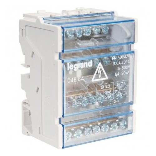 Répartiteur modulaire monobloc Lexic tétrapolaire 100A 7 connexion Legrand Réf: 004884
