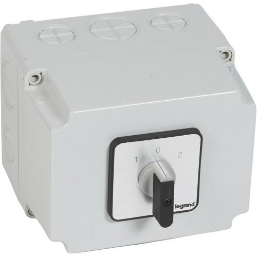 Commutateur inverseur avec arrêt PR63 8 contacts boitier 135x70mm Legrand Réf: 027753