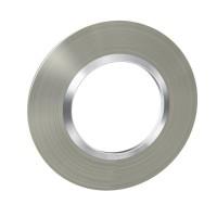 Plaque de finition ronde effet inox brossé avec bague effet chrome Legrand Dooxie Réf: 600978