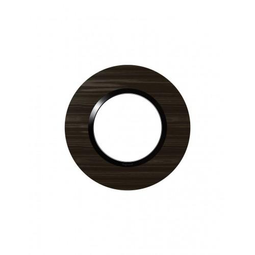Plaque de finition ronde effet bois ébène avec bague noire brillante Legrand Dooxie Réf: 600979