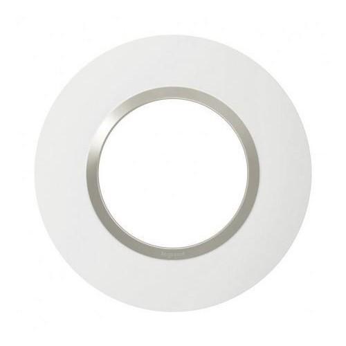 Plaque de finition ronde blanc mat avec bague Plume brillante Legrand Dooxie Réf: 6009711