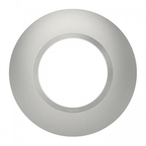 Plaque de finition ronde effet aluminium avec bague effet chrome Legrand Dooxie Réf: 600975