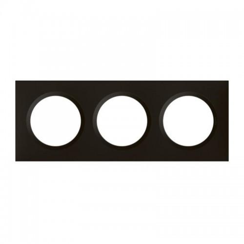 Plaque de finition triple noir velours Legrand Dooxie Réf: 600863