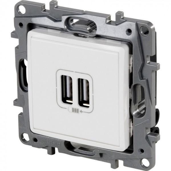 Prise double USB blanc Legrand Niloé Réf: 664794