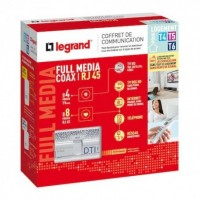 Coffret de communication full média Coaxial RJ45 Legrand Réf: 093077