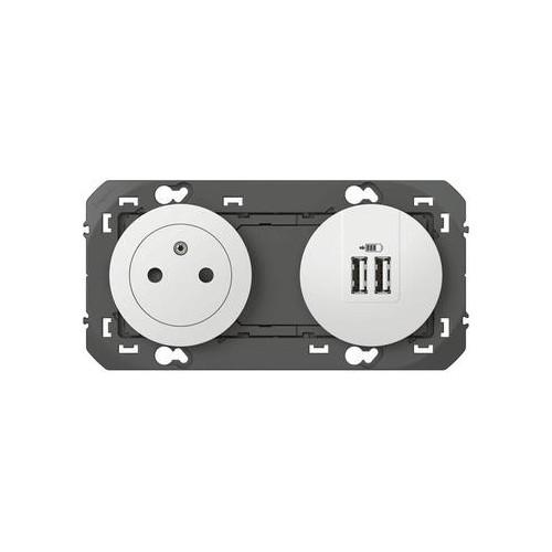 Combiné prise + chargeur double USB Legrand Dooxie Réf: 600342