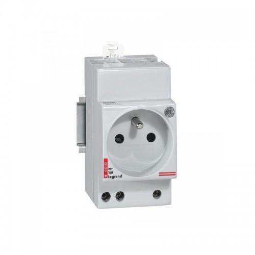 Prise de courant modulaire 10A à 16A 2P+T à éclips et à voyant - 2,5 modules Legrand Réf : 004283