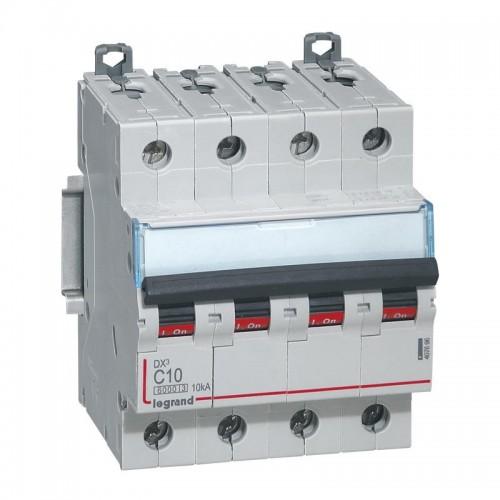 Disjoncteur DX³6000 10kA courbe C arrivée haute et départ bas à vis 4 pôles 400V 10A Legrand Réf: 407896