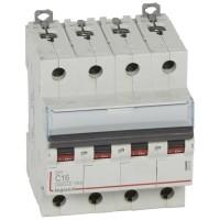 Disjoncteur DX³6000 10kA courbe C arrivée haute et sortie bas à vis 4 pôles 400V 16A Legrand Réf: 407898