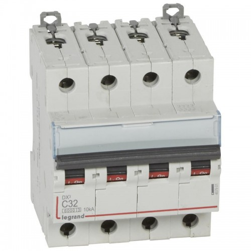 Disjoncteur DX³6000 10kA courbe C arrivée haute et départ bas à vis 4 pôles 400V 32A Legrand Réf: 407901