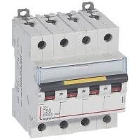 Disjoncteur DX³6000 10kA courbe C arrivée haute et départ bas à vis 4 pôles 400V 50A Legrand Réf: 407903