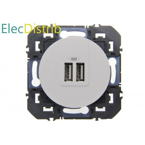 Prise double USB Dooxie blanc Réf: 600343
