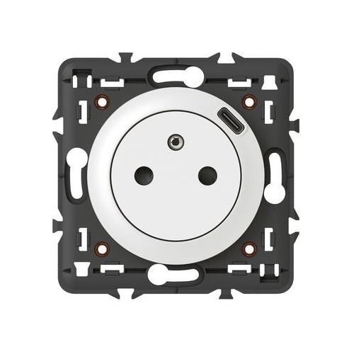 Prise 2P+T Surface avec chargeur USB type C blanc Dooxie Legrand Réf: 600341