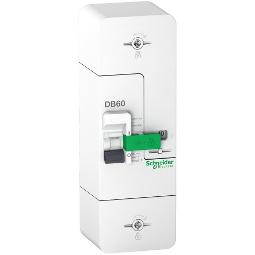 Disjoncteur de branchement 1P+N 60A fixe non différentiel Schneider DB60 resi9 Réf: R9FN660