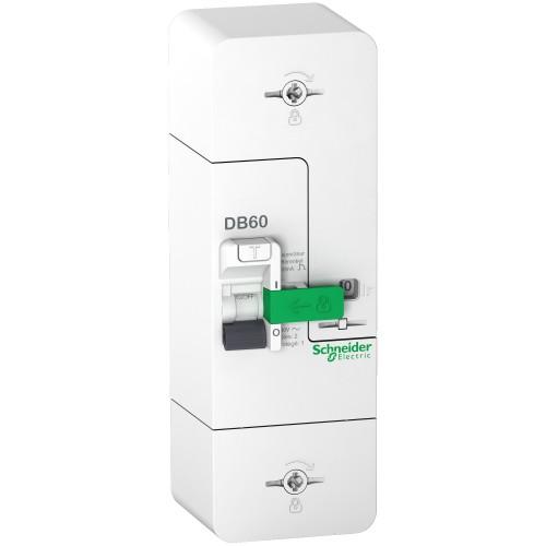 Disjoncteur de branchement 1P+N 60A fixe 500mA différentiel DB60 Resi9 Schneider Réf: R9FT660