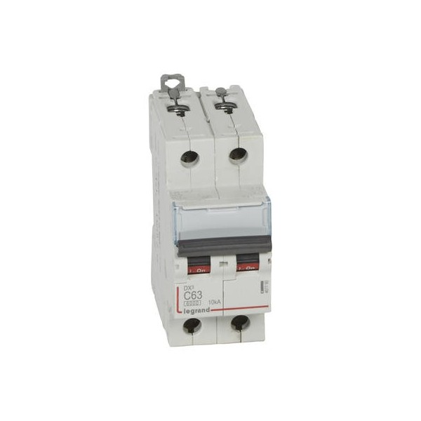 Disjoncteur DX3 6000 10kA arrivée haute et départ bas à vis 2P 230V~ à 400V 63A courbe C Lergand Réf: 407790