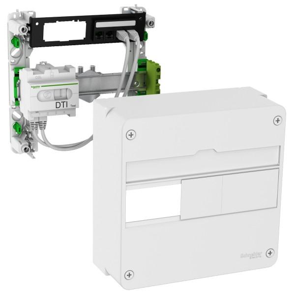 Lexcom Home Coffret de communication basic rénovation grade 1 - 4 RJ45 1 rangée Schneider Réf:  VDIR390014