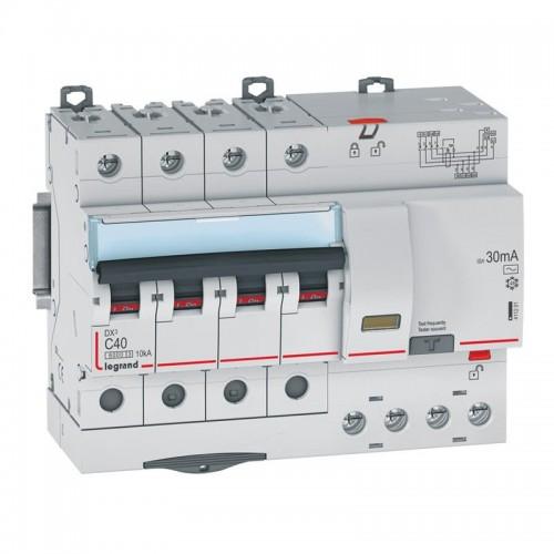 Disjoncteur différentiel monobloc DX3 6000 10kA 4P 400V 40A type AC 30mA vis / auto Legrand Réf: 411201