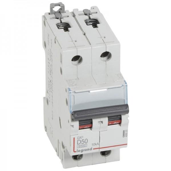 Disjoncteur DX3 6000 10kA 230v à 400V 50A courbe D vis/vis Legrand Réf: 408020