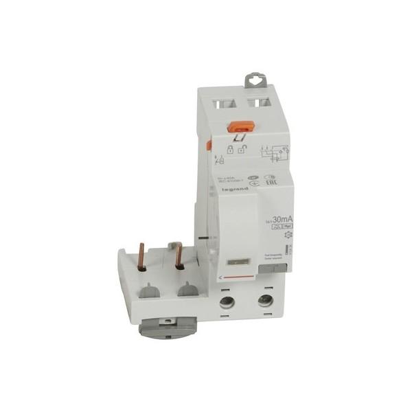Bloc différentiel adaptable automatique DX3 2P 230V 63A type AC 30mA Legrand Réf: 410408