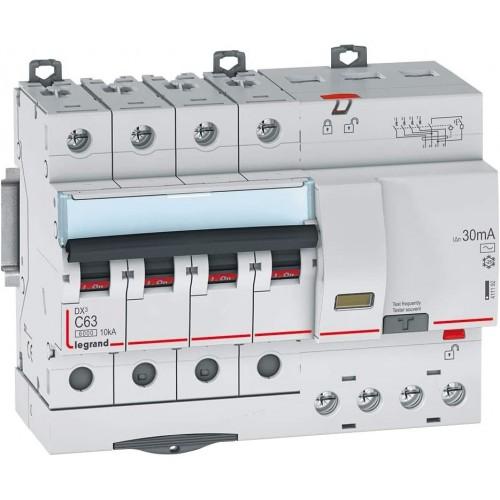 Disjoncteur différentiel monobloc 63A type AC 4P DX3 6000 400V Vis / auto Legrand Réf: 411192