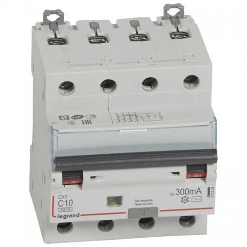 Disjoncteur différentiel 10A type AC 300mA DX3-6000 10kA vis / vis Legrand Réf: 411204